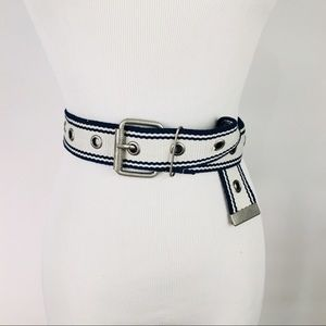 Accessories - Navy Blue And Khaki Twill Belt Grommets M L
